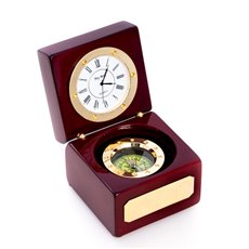 Compass and Clock in Lacquered Rosewood Hinged Box with Brass Accents