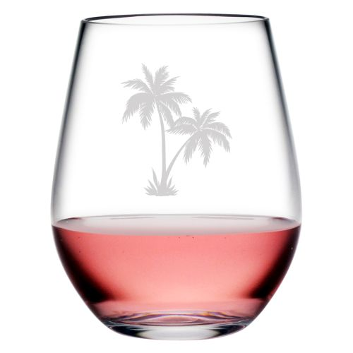 Palm Tree Cluster Tritan Stemless Tumblers, S/4
