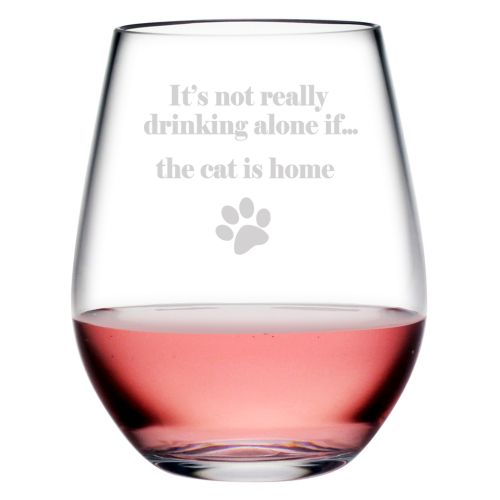Drinking Alone The Cat is Home Tritan Stemless Tumblers, S/4