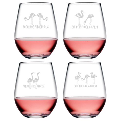 Flocking Ridiculous Asst Tritan Stemless Wine Tumblers, S/6
