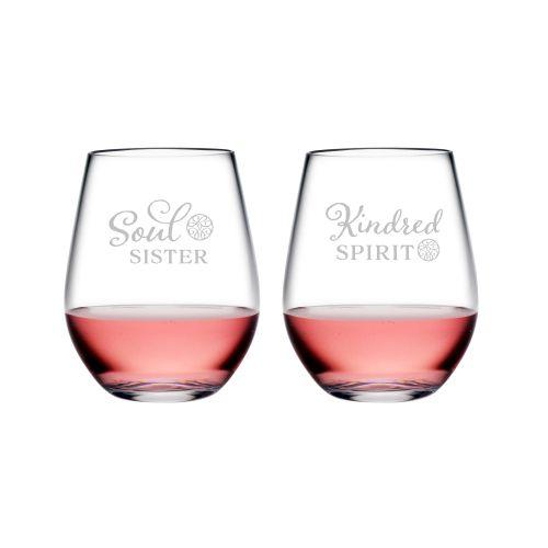Kindred Spirit & Soul Sister Tritan Stemless Wine Tumblers, S/2