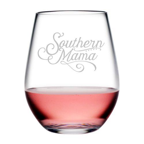 Southern Mama Tritan Stemless Wine Tumblers, S/4