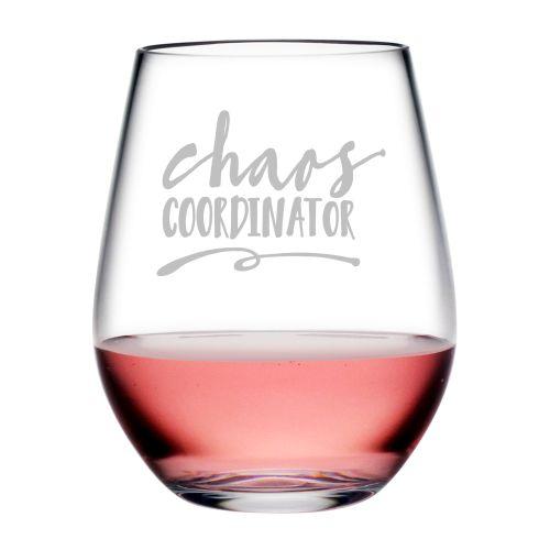 Chaos Coordinator Tritan Stemless Wine Tumblers, S/4