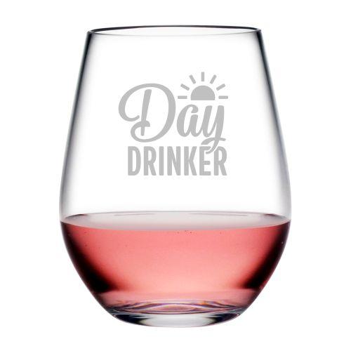 Day Drinker Tritan Stemless Wine Tumblers, S/4