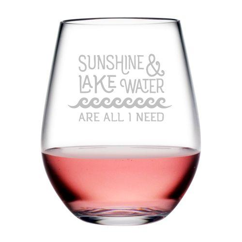Sunshine & Lake Water Tritan Stemless Wine Tumblers, S/4