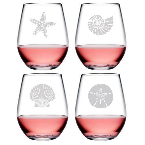 Seashore Asst Tritan Stemless Wine Tumblers S/4