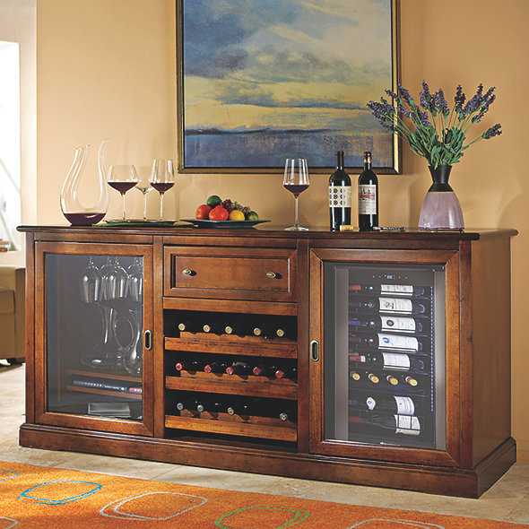 Siena Wine Credenza with Wine Bottle Refrigerator (Walnut)