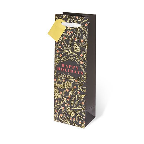 Holiday Floral Single-bottle Wine Bag by Cakewalk