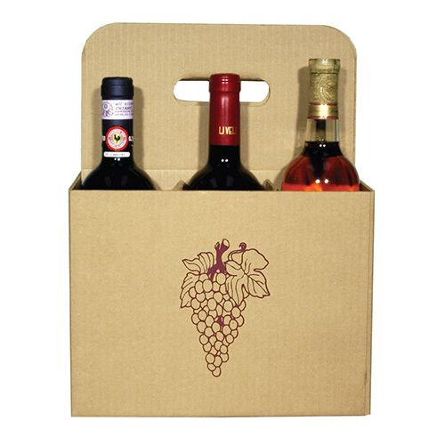 6 Bottle Open Wine Carryout with Grape