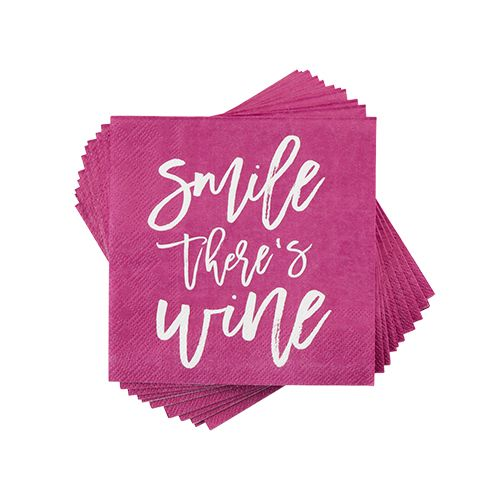 Smile There's Wine Napkin	 by Cakewalk
