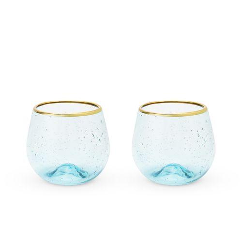 Seaside: Aqua Bubble Stemless Wine Glass Set by Twine