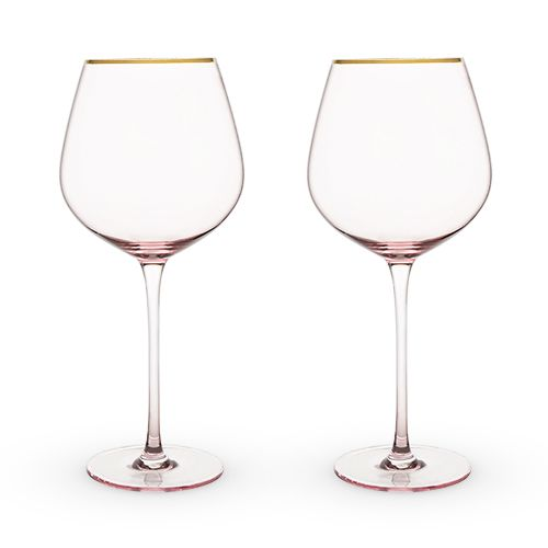 Rose Crystal Red Wine Glass Set by Twine