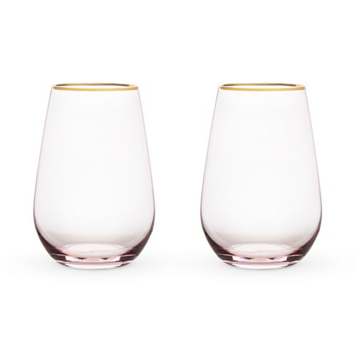 Rose Crystal Stemless Wine Glass Set by Twine