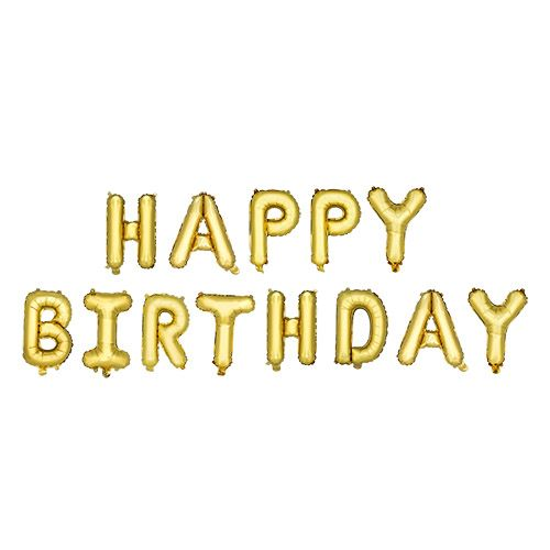 Gold HAPPY BIRTHDAY Mylar Balloon