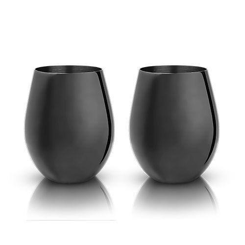Warren: Gunmetal Black Stemless Wine Glasses (VISKI)