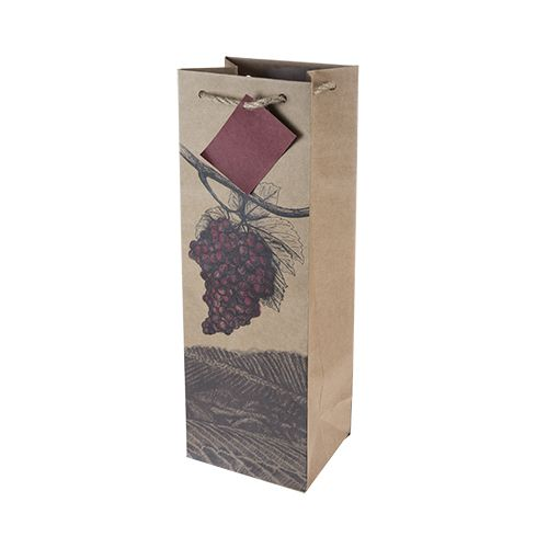 Illustrated Grapes Single Bottle Wine Bag