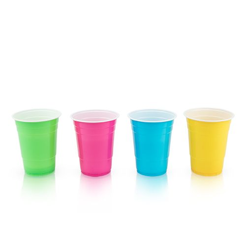 True Party: Plastic 16 oz Graphic Color Cups - Set of 24