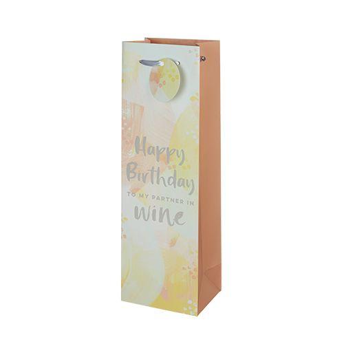 Happy Birthday To My Partner In Wine Single-Bottle Wine Bag