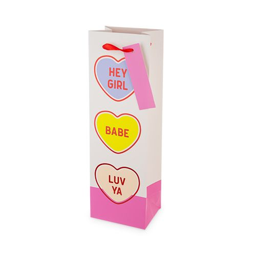 Conversation Hearts Single-Bottle Wine Bag by Cakewalk