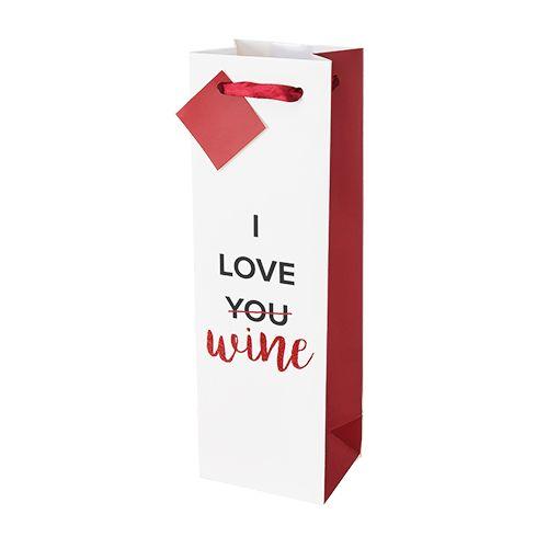 I Love Wine Single-Bottle Wine Bag by Cakewalk