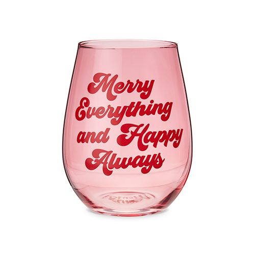 Merry Everything Stemless Wine Glass by Blush