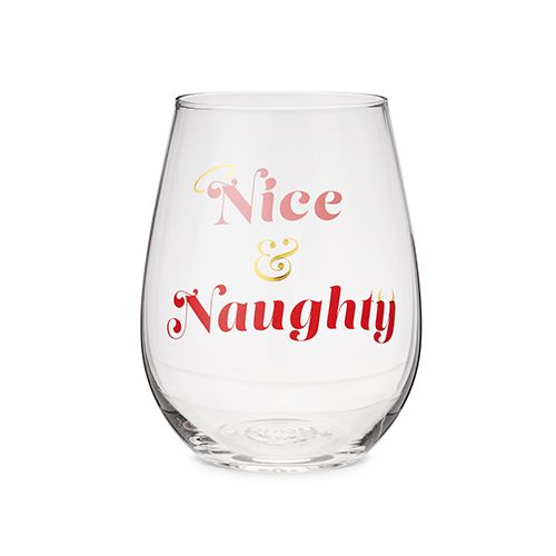 Nice And Naughty Stemless Wine Glass by Blush