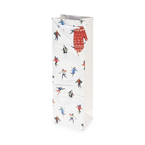 Holiday Skaters Single-Bottle Wine Bag by Cakewalk