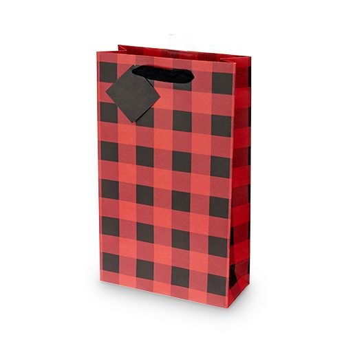 Buffalo Check Double-bottle Wine Bag by Cakewalk