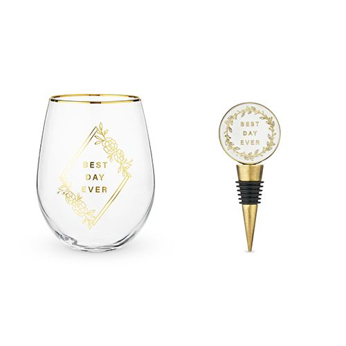 Best Day Ever Stemless Wine Glass and Stopper Set by Twine