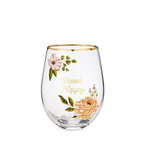 Choose Happy Stemless Wine Glass by Twine