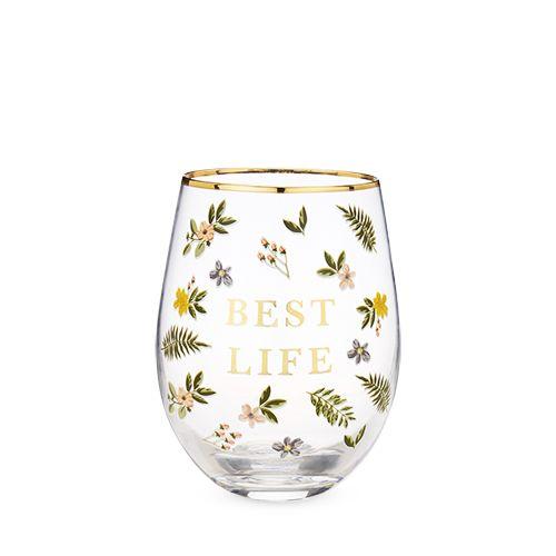 Best Life Stemless Wine Glass by Twine