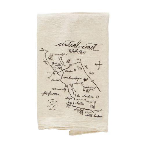 Central Coast Natural Tea Towel Valley Map