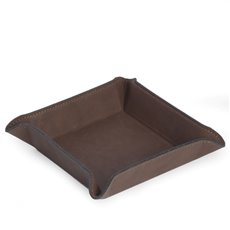 Square Valet in Rustic Brown Leatherette