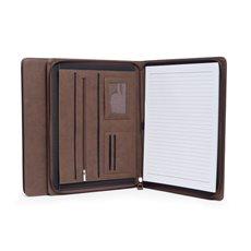 Multi Compartment Business Padfolio / Portfolio with Zipper Closure in Brown