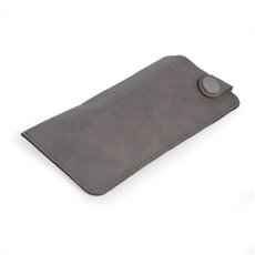 Eye Glass Sleeve with Snap Closure in Grey Leatherette