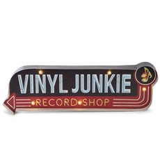 Vinyl Junkie Metal Sign, LED Lighted, Wall Mountable