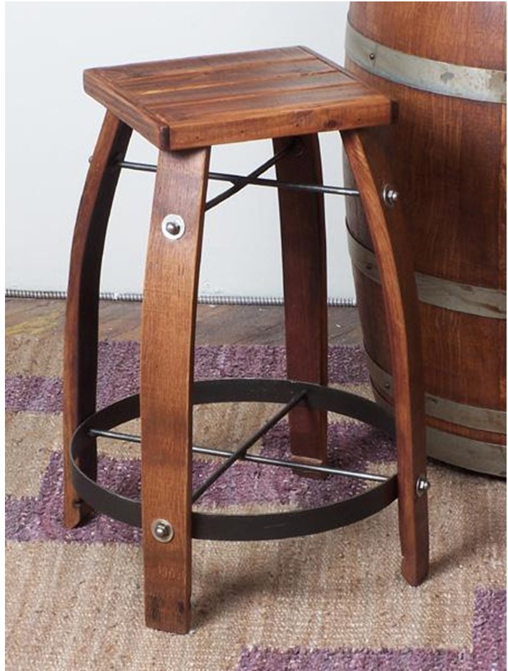 2 Day Designs 26 Inch Stave Stool with Wood Top