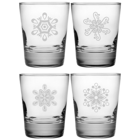 Abstract Snowflakes DOF Glasses (set of 4)