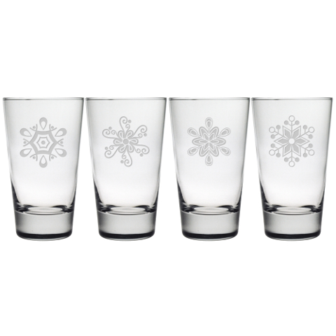 Abstract Snowflakes Highball Glasses (set of 4)