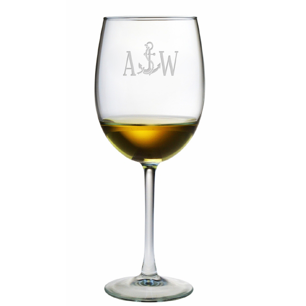 Personalized Anchor Stemmed Wine Glass Set