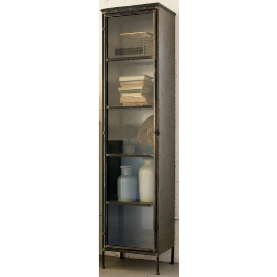 Tall Iron and Glass Apothecary Cabinet