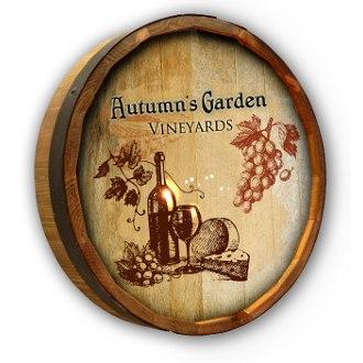 Personalized Autumn's Garden Quarter Barrel Sign