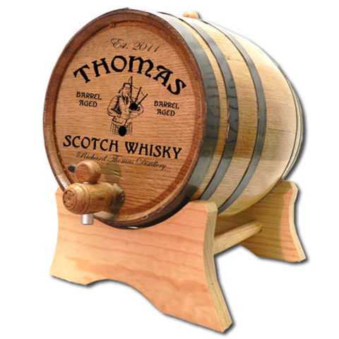 Bagpiper Scotch Distillery Personalized Oak Barrel