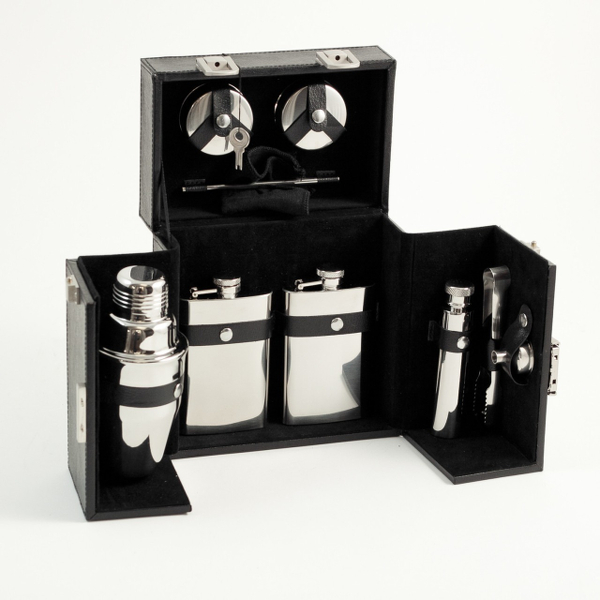 10 Piece Stainless Steel Travel Bar Set in Leather Case