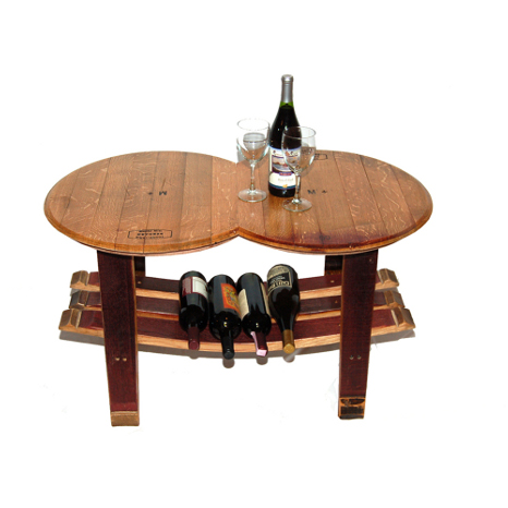 Reclaimed Wine Barrel Head Coffee Table with Stave Base