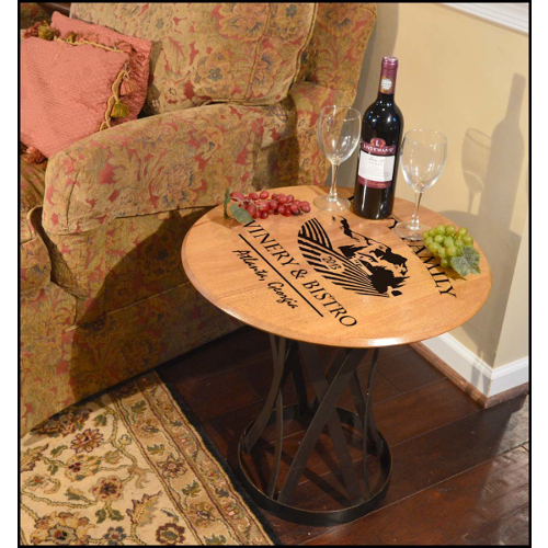 Personalized Winery Barrel Head Coffee Table