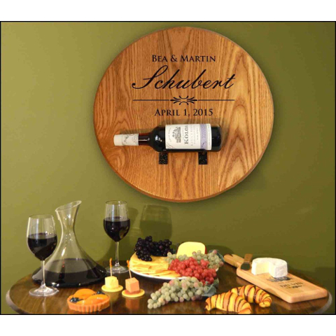 Personalized Barrel Head Bottle Holder Wall Decor