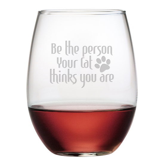 Be The Person Your Cat Thinks You Are Stemless Wine Glasses (set of 4)