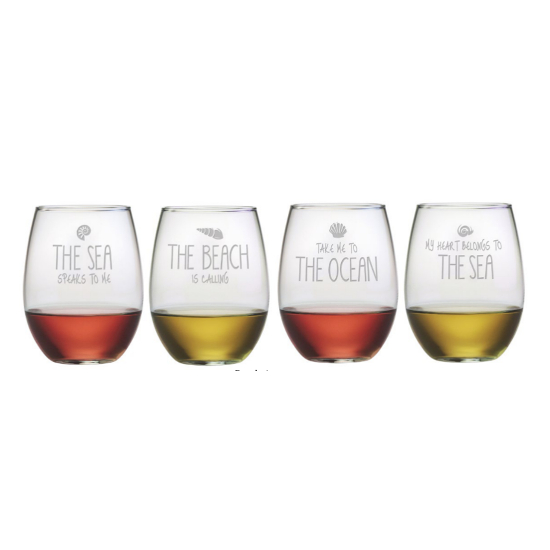 Beach Assortment Stemless Wine Glasses (set of 4)