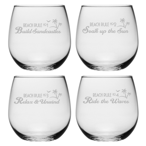 Beach Rules Stemless Wine Glasses (set of 4)